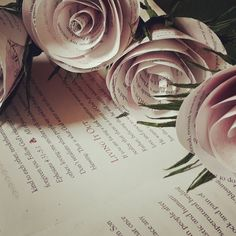 Light pink old book pages FLOWERS Roses Vintage by moniaflowers