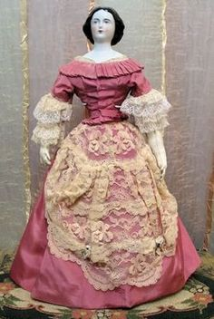 ETHEREAL Antique 18 1860 Jenny Lind Portrait China Doll with Bun