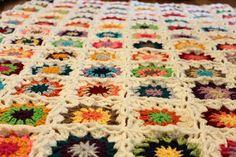 Granny square crocheted blanket pattern