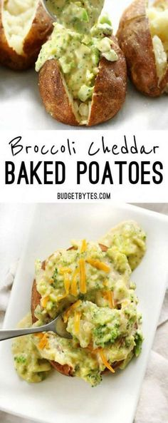 Broccoli Cheddar Baked Potatoes Broccoli Cheddar Baked Potatoes are an easy vegetarian dinner that uses simple ingredients to make a filling and flavorful meal. Vegetarian Comfort Food, Vegetarian Breakfast Recipes, Vegetarian Recipes Dinner, Simple Vegetarian Recipes, Recipes With Potatoes Vegetarian, Dinner Healthy, Chicken Recipes, Vegetarian Cooking, Vegan Meals