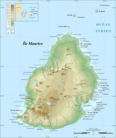 Topographic Map of the island of Mauritius