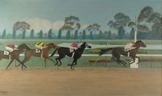 Antique Horse Racing Oil Painting on Canvas. Large 1940's American Impressionist Primitive Folk Art Depicting Dixie Yank Winning at Cherry Hill, New Jersey's Garden State Race Track. Original Equestrian / Equine Artwork with Jockeys. Signed and Dated. From Vintage Art Cafe. SEE IT ON ETSY --> https://www.etsy.com/listing/184461410/antique-oil-painting-horse-racing-art-on?ref=shop_home_active_1