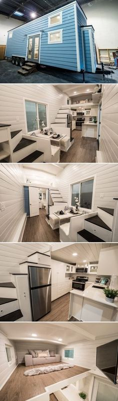 Built by Arizona-based Free2Roam Tiny Homes is the Hekkert Hideaway, a 400+ square foot home on a triple axle trailer. The home is 32-feet long and has two lofts, each with stair access.