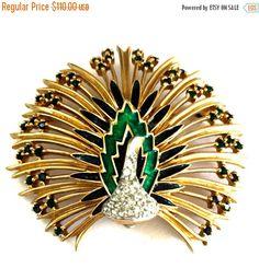Jomaz Enamel and Rhinestone Peacock Brooch, Green Blue Enamel, Dimensional Figural Brooch, 1960s #vjse2 #teamlove #vogueteam #follow4updates #vintagejewelry #fashion