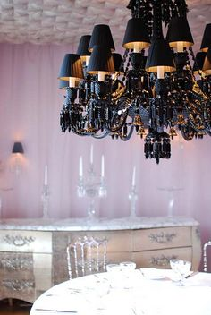 Black glass chandelier with black shades - Cristal Room Baccarat