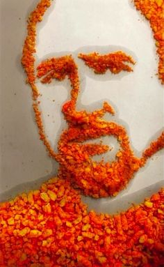 'Cheetos and Shame' - by designer Katie Mazikins; portrait of comedian Louis C. made of greasy CHEETOS Cheetos, Louis Ck, Celebrity Portraits, Portrait Art, Installation Art, Food Art, Art History, Making Out, Amazing Art