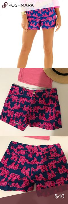 "✨ sale Lilly Pulitzer Callahan short Lilly Pulitzer - the Callahan short - pack your trunk style.  5"" Inseam, Garment Washed, Zip Fly Short With Center Front Button Closure, Slant Front Pockets, And Back Welt Pockets. Beach Twill - Printed (100% Cotton). Machine Wash Cold. Imported.  Navy blue with hot pink elephant print. Very fun shorts. Never worn. Tags removed. Too big for me. My loss is your gain. Lilly Pulitzer Shorts"