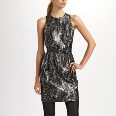 """MICHAEL Michael Kors Metallic Croc- Print Dress This very gorgeous black metallic dress is perfect for parties or great for date night. Put on a little black belt to create the full hourglass effect. Round neckline. Exposed front zip adds sexy detail. Sleeveless. Straight skirt. It measures 35"""" in length from the top of the shoulder to the hemline. In good condition. MICHAEL Michael Kors Dresses"""