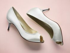 Saffron - Ivory Satin Peep Toe Shoes
