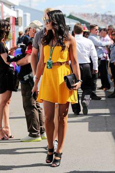 Minttu Virtanen wearing a pretty yellow dress.