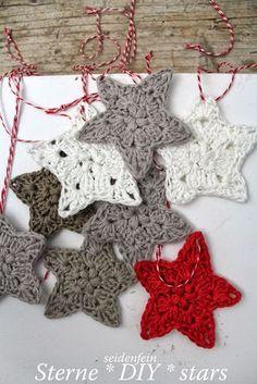seidenfeins Dekoblog: 11 ✰ Sternchen-Anhänger * DIY * crochet some stars