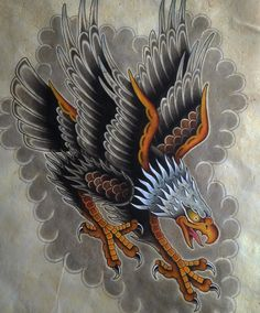 Jeroen Gardenier, traditional tattoo flash, eagle tattoo