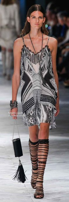 Roberto Cavalli Spring 2014 Milan love the dress ~ shoes are a bit much with it