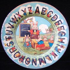 EARLY TIN ABC PLATE ~ PETER RABBIT & FRIENDS ~ c1920