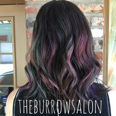 """Owner Caity tried the """"oil slick"""" hair color technique on receptionist Monica…"""