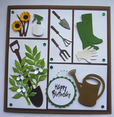 Hand made Birthday card using Occaision Gardening Dies Cricut Birthday Cards, Homemade Birthday Cards, Dad Birthday Card, Birthday Cards For Women, Bday Cards, Cricut Cards, Homemade Cards, Happy Birthday, Masculine Birthday Cards