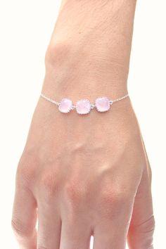 Blush Pink / Silver Triple Square Bracelet - Pink Jewelry - Blush Bracelets - Delicate Bracelet - Pink Bridesmaid Gift - BS2