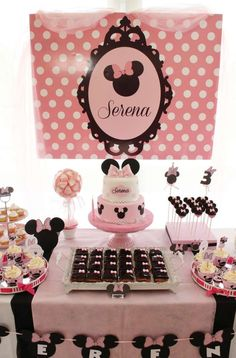 Amazing dessert table at a Minnie Mouse birthday party! See more party planning ideas at CatchMyParty.com: