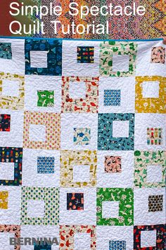 The Spectacle Quilt is a mix of prints and a solid. The center squares are sized to be charm pack friendly. Check the spectacle quilt free tutorial. Colchas Quilt, Scrappy Quilts, Easy Quilts, Small Quilts, Quilt Blocks Easy, Modern Quilt Blocks, Charm Pack Quilt Patterns, Scrap Quilt Patterns, Modern Quilt Patterns