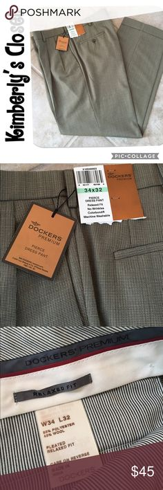 ✨MEN'S DOCKERS PREMIUM DRESS PANTS✨ MEN's DOCKERS premium dress pants.  Relaxed fit, no wrinkles, machine washable.  Pleated front.  Cuffed leg hems.  Size 34 W x 32 L.  Brand new with tags. Dockers Pants Dress