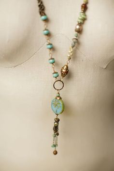 Rustic Creek - This handcrafted gemstone long necklace features a hand made Czech glass dragonfly focal that symbolizes change and transformation *** Find out more at the image link.