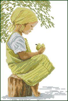 КЛАДОВАЯ РУКОДЕЛИЙ: Схема вышивки «Девочка с яблоком»