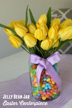 Take a look at this super easy Jelly Bean Jar DIY Easter Centerpiece. Your Easter table decorations are set. Use a repurposed jar and a secret supply inside for this cheery Easter decoration. Jelly Beans, Jelly Bean Jar, Easter Table Decorations, Easter Centerpiece, Easter Decor, Easter Ideas, Centerpiece Ideas, Table Centerpieces, Easter Brunch