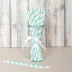 Paper Straws - White with Aqua Dots