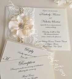 Vintage Garden Glitz & Glamour - Cream and White - Couture Lace and Flower Wedding Invitation Suite