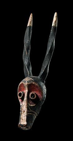 "Africa | Horned mask ""giphogo"" from the Pende people of DR Congo 