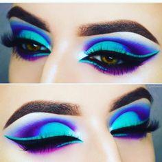 Colorful eye makeup - inspiration: make up - Makeup Eye Looks, Beautiful Eye Makeup, Eye Makeup Art, Hooded Eye Makeup, Cute Makeup, Eyeshadow Makeup, Makeup Inspo, Makeup Inspiration, Makeup Tips