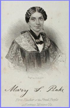 Mary Smith Kelsey Peake (1823–1862) taught many former slaves underneath Emancipation Oak. Sept 1861, she started a school near Fort Monroe, within present grounds of Hampton Univ. Supported herself as a dressmaker, & secretly taught from her home, instructing African Americans of all ages. Founded the Daughters of Zion to provide aid to the poor & the sick. In 1851 she married Thomas Peake, a former slave. Today, the city of Hampton honors Peake with a school, a street, & a park.