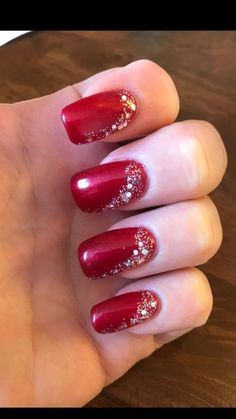 60 Amazing Christmas Holiday Nails For Winter - - Designs for christmas ideas about Christmas manicure, pretty nails and Holiday nail art. As if ombre nails are not cool enough, this holiday nail design uses a glitter ombre with painted Christmas orn Christmas Manicure, Xmas Nails, Red Nails, Christmas Glitter, Christmas Ornaments, Christmas Nails 2019, Valentine Nails, Christmas 2017, Christmas Decorations