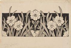 Narcisos. Encabezamiento de página para el poema «Liliana» de Apel·les Mestres | Museu Nacional d'Art de Catalunya