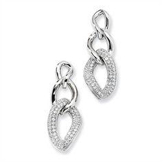 Sterling Silver & CZ Polished Fancy Dangle Post Earrings