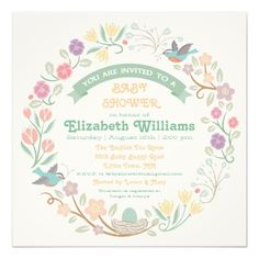 Woodland Floral Wreath Baby Shower Invitation — Pretty woodland flowers with two birds building a nest complete this charming modern baby shower invitation. The back of the card has a pretty floral pattern. Baby Shower Flowers, Baby Shower Fun, Floral Baby Shower, Baby Shower Parties, Custom Baby Shower Invitations, Spring Shower, Flower Invitation, Floral Wreath, Summer Baby