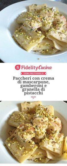 Paccheri con crema di mascarpone, gamberoni e granella di pistacchi