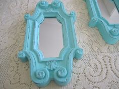 Homco Pair Accent Mirror Aqua Upcycled Beach House by LarrysLoot, $24.00