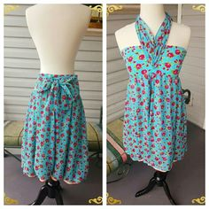 Betsey Johnson swim cover up vintage look Perfect swimwear piece. Stretchy fabric, doubles as a dress and skirt. Only tried on, new without tags. This will fit comfortably up to a size 6. It has an adorable polka dot liner underneath but this garment can pass with an outfit as well, it isn't like a bathing suit material. Super cute and vibrant. Betsey Johnson Swim Coverups