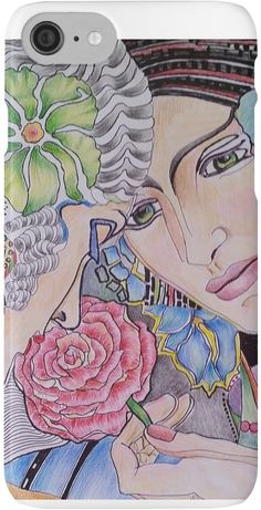 Art Deco Ladies with flower – Original Color pencil drawing • Also buy this artwork on phone cases, apparel, stickers, and more.