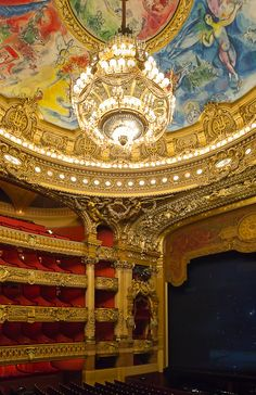 """""""I walked into L'Opera Garnier and angels started to sing the minute I looked up to see Chagall's masterpiece of a ceiling; then the curtains opened and I heard violins, too.  After soaking it all in for a while I thought the evening couldn't possibly get any better, but when the symphony ended and we walked out... voila - PARIS!"""" <3"""