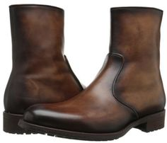 Magnanni Brown Antiqued Leather Men Zip Up Boot