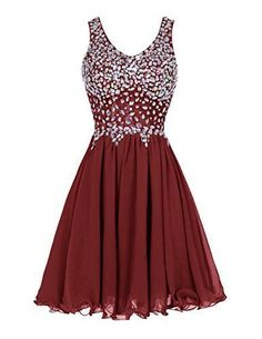 Elegant Chiffon Homecoming Dress,Short Homecoming Party Dress ,Beaded burgundy Prom Dress
