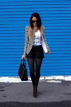 Tank: StyleLately // ON SALE Blazer: Windsor Necklace: Jcrew  // Love THIS Shorts: H&M Shoes: Stuart Weitzman Tights: ASOS ... Just purchased THESE Handbag: Valentino Sunglasses: ChicWis...