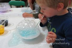 Bubbles in a bowl science by Teach Preschool