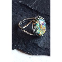 Aluna Mae Leigh. Blue Topaz Opal Stone Ring ($26) ❤ liked on Polyvore featuring jewelry, rings, multicolour, blue topaz jewelry, multi colored rings, blue ring, adjustable rings and blue stone jewellery