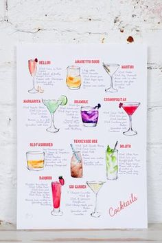 This illustrated cocktail print features 11 beautiful watercolour paintings of mouthwatering cocktails. Each cocktail is accompanied by its recipe! They have all been tried and tested- and the recipes are all by her fiancé (hes an ex-bar manager - what a team!) Cocktails featured- bellini amaretto sour martini margarita bramble cosmopolitan old fashioned tennessee bee mojito daiquiri gin garden Perfect above a bar trolley, in a kitchen, or above your drinks cabinet! Each print is archiv...