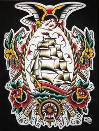 Tattoo Old School Sailor Jerry Ships 41 Ideas Tattoos 3d, Body Art Tattoos, Tattoos For Guys, Sleeve Tattoos, Cool Tattoos, Traditional Tattoo Old School, Traditional Tattoo Design, Traditional Tattoos, Tatuagem Old Scholl
