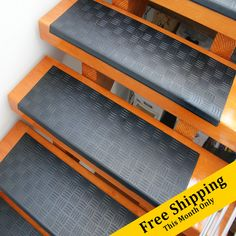 Add traction to your residential, commercial, or business stairs with the Diamond-Grip rubber stair tread's incomparable anti-slip qualities. Rubber Floor Mats, Rubber Flooring, Stair Steps, Stair Treads, Stair Mats, Stair Makeover, Outdoor Stairs, Thing 1, Slip And Fall