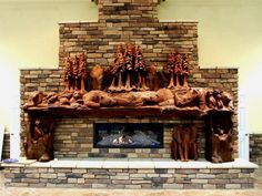 Carved Redwood Mantle Crafted by Steve Blanchard of Monterey, California